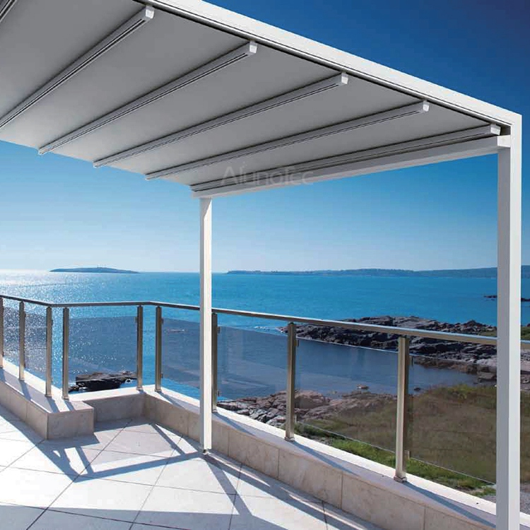 Aluminum Gazebo Retractable PVC Pergola Fabric Roof For Outdoor