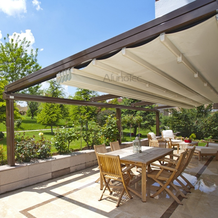 Waterproof PVC Retractable Awning Pergola Systems