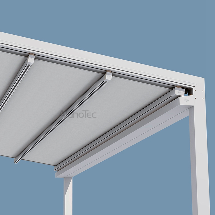 Sunshading Cover PVC Retractable Awning Canopy with LED Light