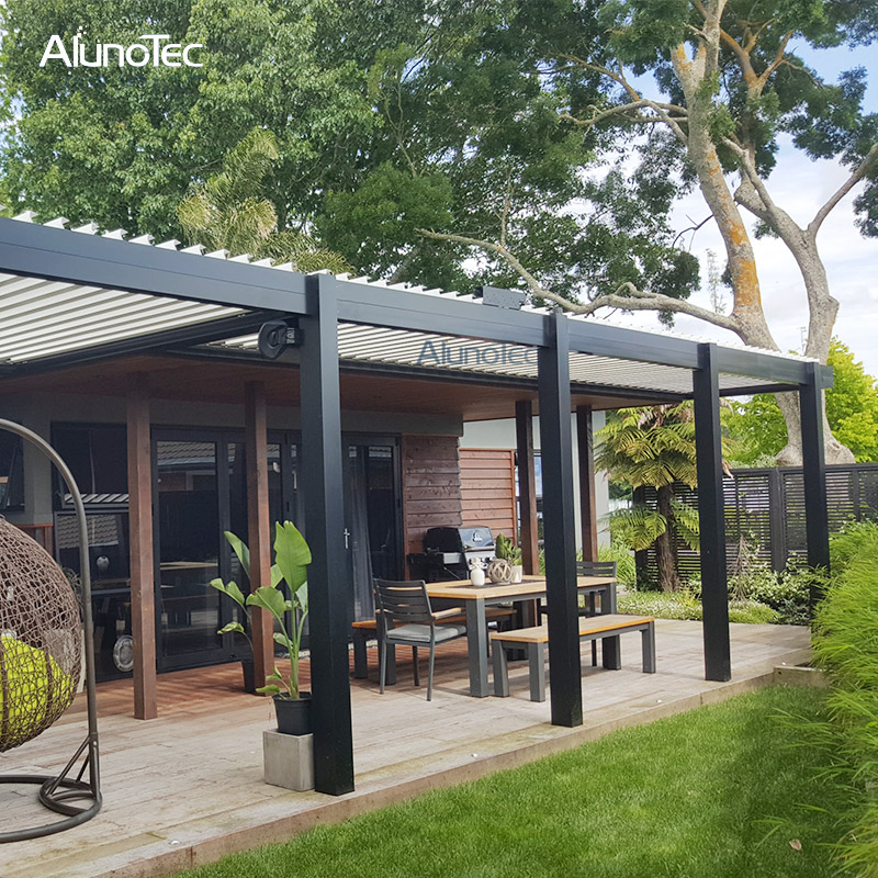 Chinese Automatic Terrace Garden Gazebo Electric Pergola Aluminum Opening Roof