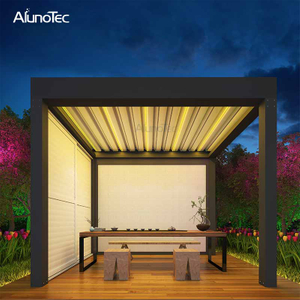 Motorized Awning Folding gazebo Louvered Roof Pergola With Led Lights