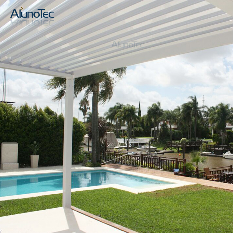Outdoor Gezebo Retractable Aluminium Pergola Designs With Led Lights