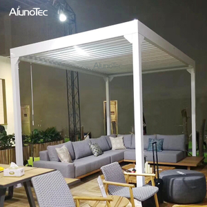 Alunotec Garden Aluminum Profiles Manual Louvered Roof Operation Waterproof Pergola Outdoor
