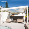 Adjustable Folding Pergola Louvered Patio Cover With Curtain