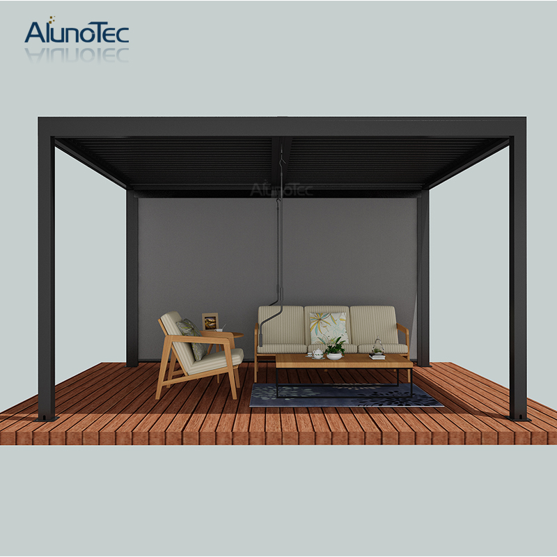 Manual Opening Roof Aluminum Louver Pergola With Crank For Garden