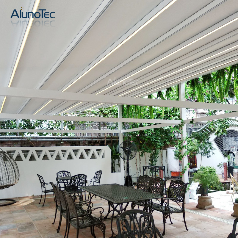 Outdoor Shading Pvc Pergola With Side Sun Screen