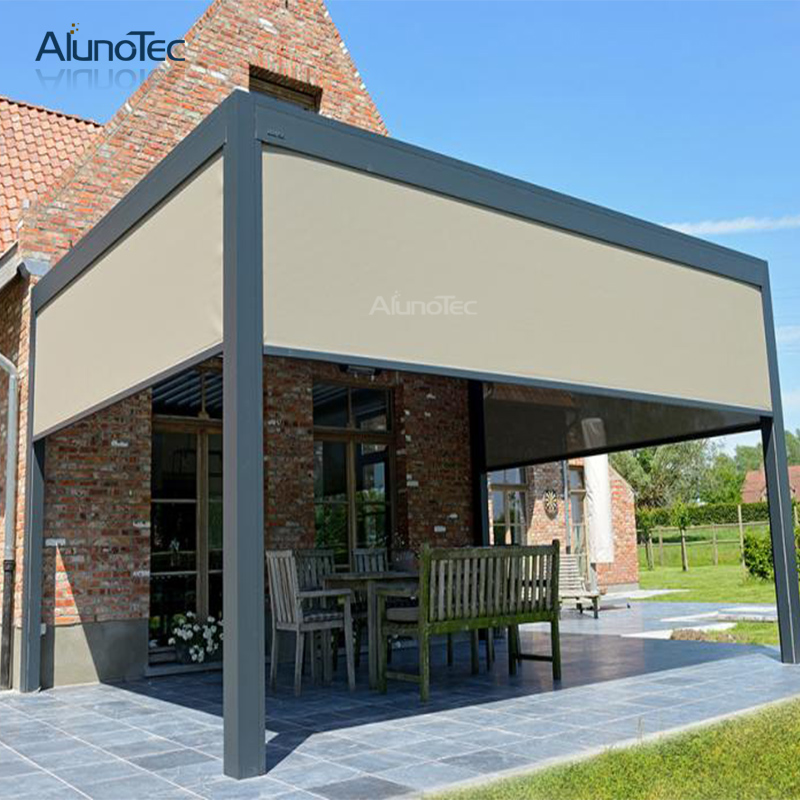 Motorized Shade Roller Blinds Privacy Shutter Zipper Screen For Aluminum Pergola