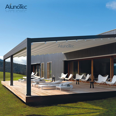 4x4 Retractable Awning Sliding Roof Gazebo With Curtain