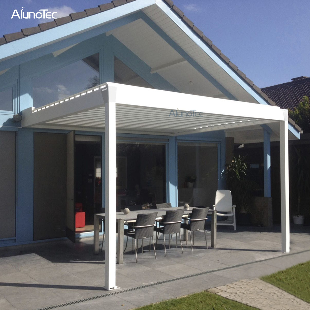 Powder Coating Waterproof Pergola Retractable Awning With Louvered Roof