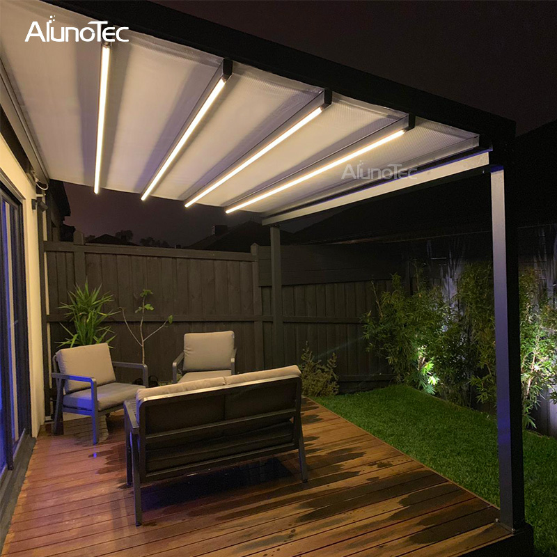Electric Gazebo Retractable Pergola RoofAutomatic Awning with Lights