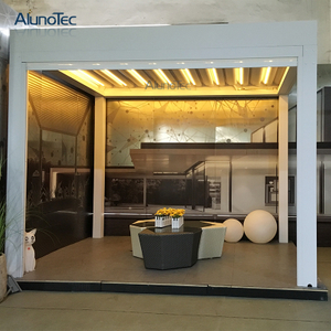 Waterproof Aluminium Gazebo Garden Folding Shades Pergola With Led