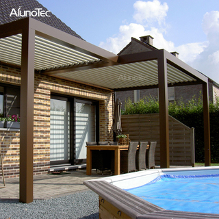 Bioclimatic Aluminum Gazebo Motorized Pergola Louver Roof for Swimming Pool