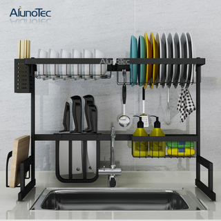 Kitchen Standing Shelf 65cm Modern Black Organizer Holder Metal Drying Dish Rack Drainer