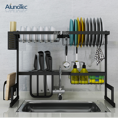65cm Black Standing Kitchen Stand Hanger Rack Drying Plate Shelf Stainless Steel 2 Tier Dish Rack