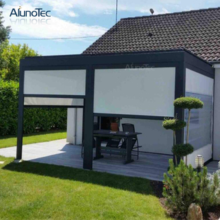 Balcony Customized Elegant Outdoor Aluminum Waterproof Gazebo Pergola Aluminio With Zipper Screen