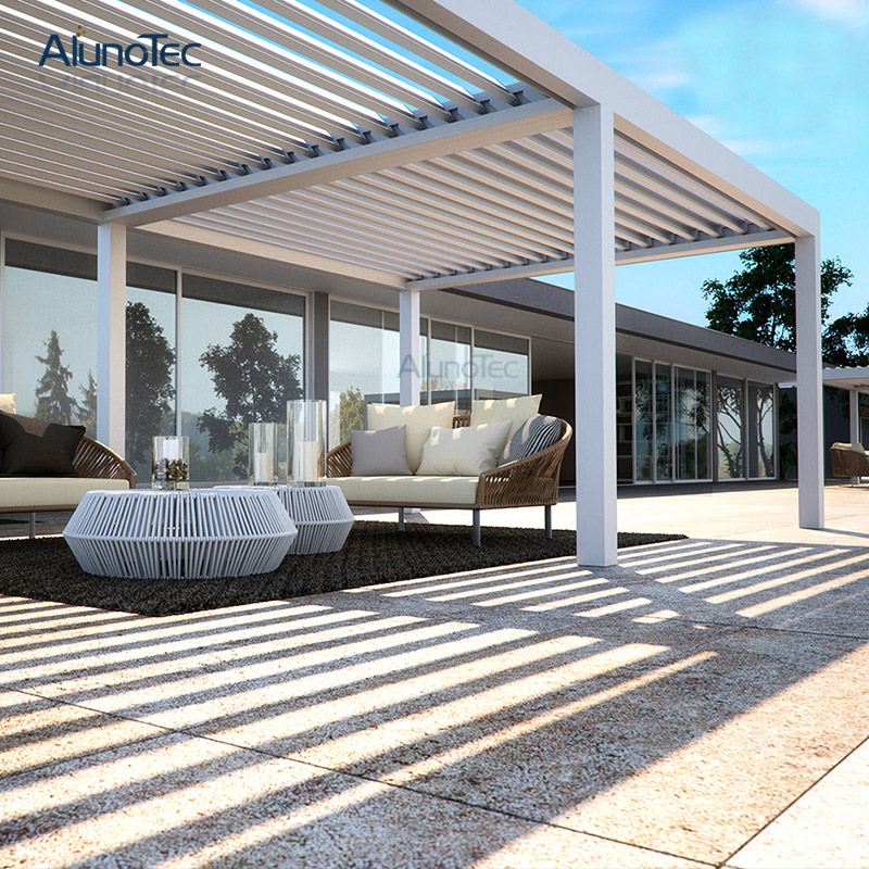 Professional Customized Motorized Louver Pergola Roof System For Home