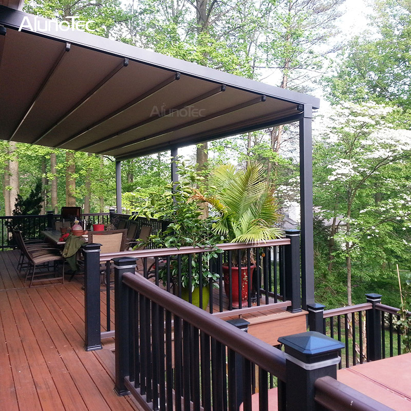 Electric Awning Aluminum Pergola PVC Retractable Roof With Led