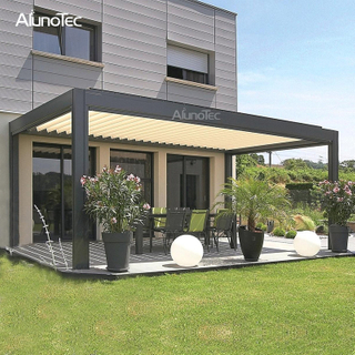 Motorized Pergola Garden Aluminium Gazebo Garden With Operable Louver Roof