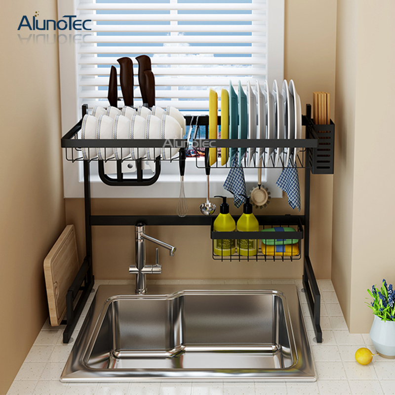 Stainless Steel 65cm Black Kitchen Stand Drying Holder Over The Sink Dish Storage Rack