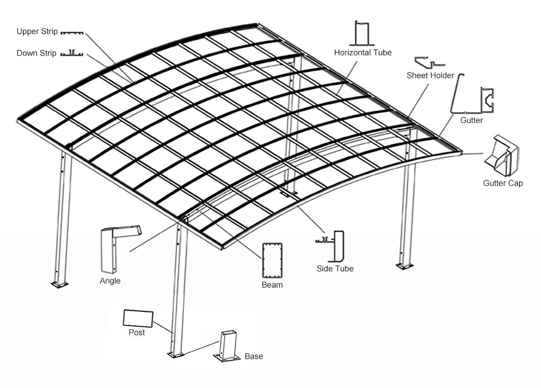 Polycarbonate Aluminum Double Carport For Car Garage Buy Double Carport Polycarbonated Carport Carport For Two Cars Product On Aluminum Pergola Alunotec