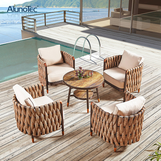 PE Rattan Wicker Weaving Sling Rope Sofa Set Outdoor Garden Furniture