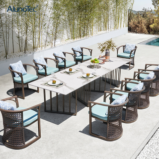 Luxury Modern Design Garden Furniture Dining Set Outdoor Rattan Chairs for 10