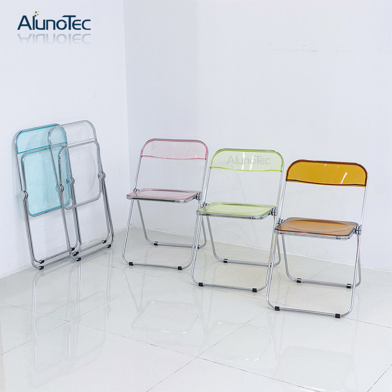Outdoor Furniture Transparent Foldable Plastic Garden Chair in Chrome