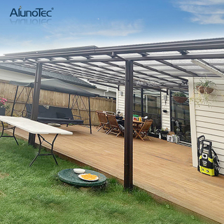 Aluminum Waterproof Patio Awning Polycarbonate Terrace Roof Gutter Outside Curved Canopy