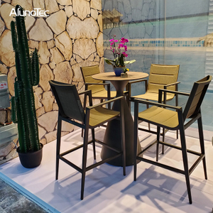 Luxury Modern Aluminum Furniture Bar Table And Chair Sets