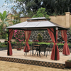Roman Outdoor Canopy Aluminum Hardtop Pavilion Gazebo with Mosquito Net