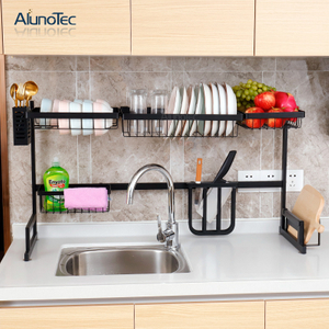 Black 85cm Kitchen Sink Drainer Organizer Stainless Steel Dish Drying Rack