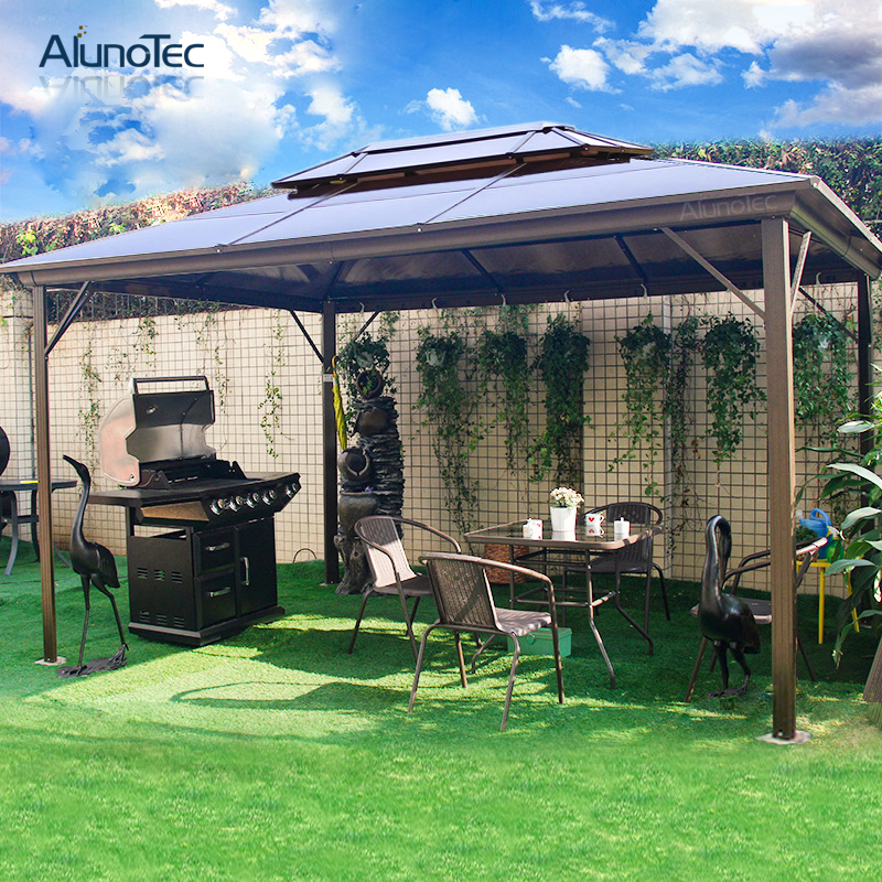 Hardtop Aluminum Outdoor Roof Gazebo Roman PC Canopy with Polycarbonate