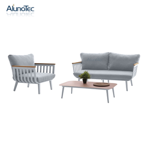 Outdoor Aluminum Comfortable Sofa Sets with Cushions and Table