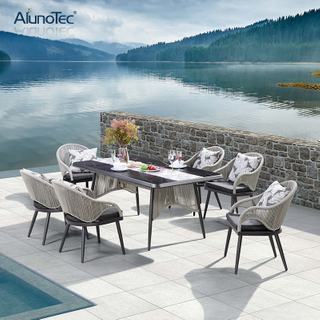 Outdoor Patio Garden Furniture Dining Sets with Rope Chair and Table