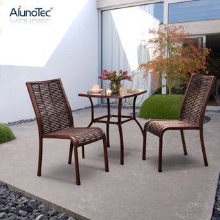 Outdoor Rattan Coffee Set Garden Furniture Rattan Coffee Chairs With Aluminum Table
