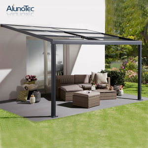 Outdoor Polycarbonate Sliding Patio Cover Gazebo With Retractable Roof