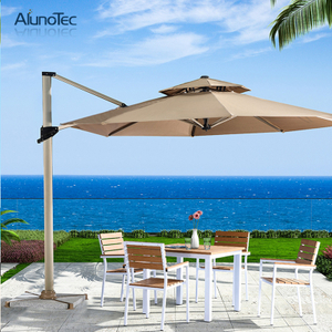 Sun Block Aluminum Frame Outdoor Roman Fabric Umbrella for Coffee Shop