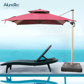 Outdoor Roman Aluminum Coffee Canopy Cantilever Patio Umbrella Shade