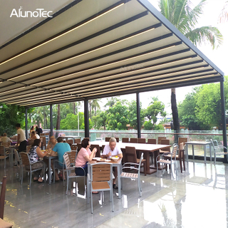 Automatic Retractable Pergola Roof With Electric System Waterproof Awning With Side Screen
