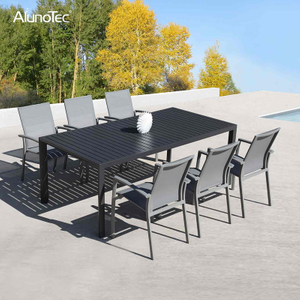Outdoor Patio Table Set Garden Furniture Dining Set with Sling Chairs