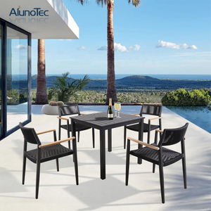 Outdoor Patio Garden Furniture Aluminum Table Set with Rope Chair for Deck Terrace Hotel