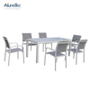 7 Pieces Aluminum Table Sling Seat Back Chair Outdoor Patio Dining Set for Garden Furniture